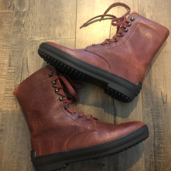 NEW Tods Leather Lace Up Boots 36